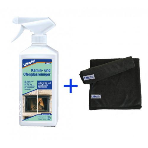 Nettoyant p. vitre de cheminée (pulvérisateur) 500 ml + chiffon en microfibre gratuit