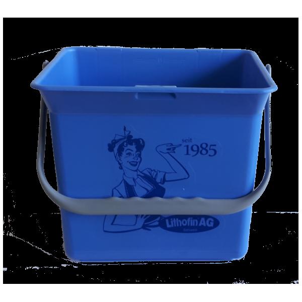Eimer (blau) mit Lithofin Aufkleber 6 l