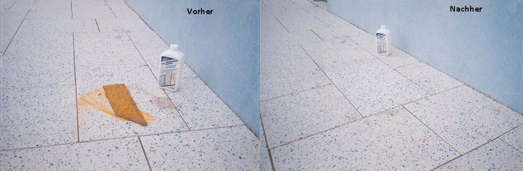 Rostflecken mit MN Zementschleierentferner entfernt
